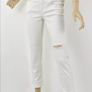 AG White Ripped EX-BOYFRIEND CROP Roll-Up Jeans 26